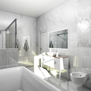 "Проект №2938. Ванная комната в белом мраморе""Прадо"""
