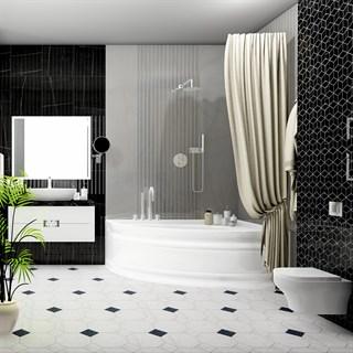 """Проект №678. Ванная комната в черно-белом мраморе """"Греппи"""""""