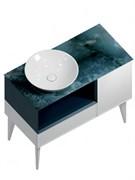 CO.97\GEN Тумба CONO 97 см, ящик, дверца и откр полка с LED, белый мат+дженциана