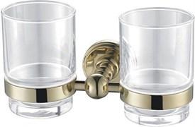 4684D Стакан двойной стекло с держателем Aquanet, золото (189283)